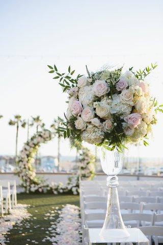 wedding-ceremony-pink-rose-white-hydrangea-greenery-arrangement-circle-arch-flower-petal-aisle