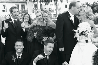 black-and-white-photo-of-groomsmen-and-bridesmaids
