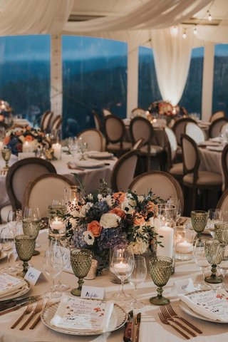 tented-wedding-reception-french-chair-green-goblets-glassware-white-peach-rose-blue-white-hydrangea