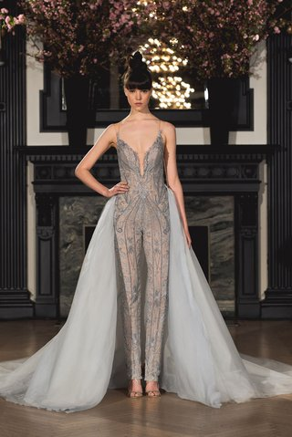 ines-di-santo-spring-2019-bridal-collection-wedding-dress-lake-jumpsuit-grey-with-long-train-blue