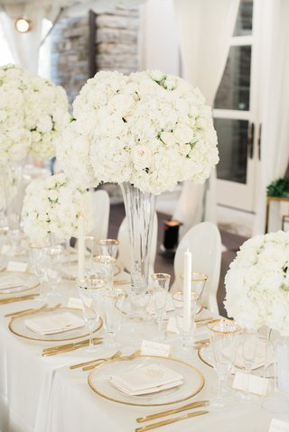 white-and-gold-wedding-decor-centerpieces-with-white-hydrangeas-and-roses-tall-centerpieces