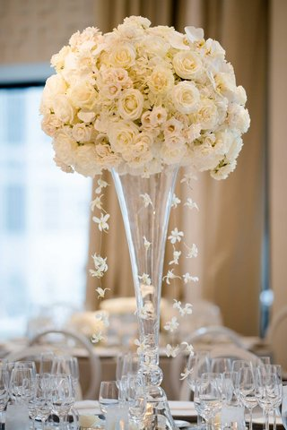 wedding-reception-flower-arrangement-white-rose-hydrangea-cascading-orchids