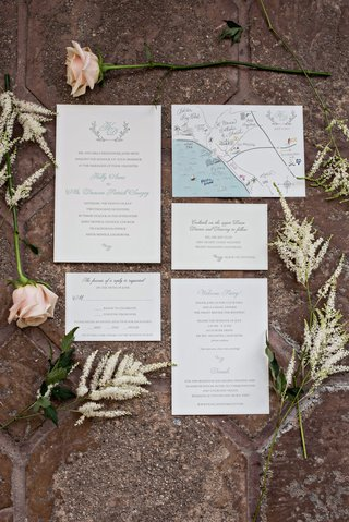 wedding-invitation-suite-white-stationery-light-blue-seafoam-color-letterpress-monogram-map