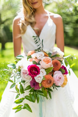 wedding-bouquet-hot-pink-peach-garden-rose-mum-orange-greenery-white-flowers
