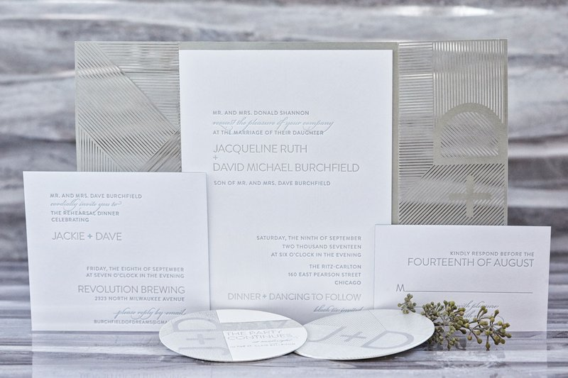 White & Silver Modern Invitation Suite