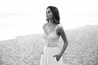 black-and-white-photo-of-lihi-hod-2016-beaded-crop-top-wedding-dress