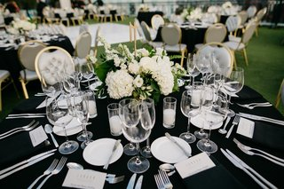 wedding-reception-table-black-linens-grey-and-gold-chairs-small-centerpieces-with-hydrangeas