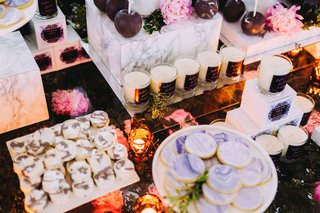 wedding-reception-candles-with-cakes-and-desserts-dessert-bar-wedding-marble-cookies-personalized