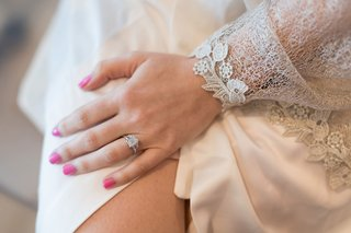 engagement-ring-three-stone-emerald-cut-pink-manicure-nail-polish