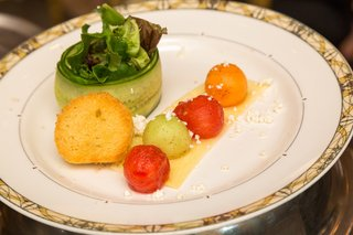wedding-salad-cucumber-wrapped-greens-brioche-crouton-watermelon-honeydew-cantaloupe-goat-cheese