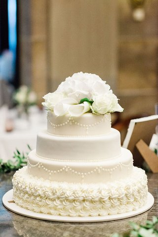 wedding-reception-in-germany-hotel-ballroom-small-classic-white-wedding-cake-flower-topper