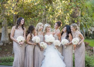 bride-in-layered-full-ball-gown-bridesmaids-in-adrianna-papell-taupe-dresses-with-sequins
