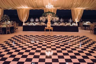 wedding-reception-tent-event-with-tall-cake-and-black-white-checkerboard-dance-floor-vinyl-black