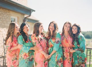 bridesmaids-in-flower-pattern-aqua-and-pink-robes