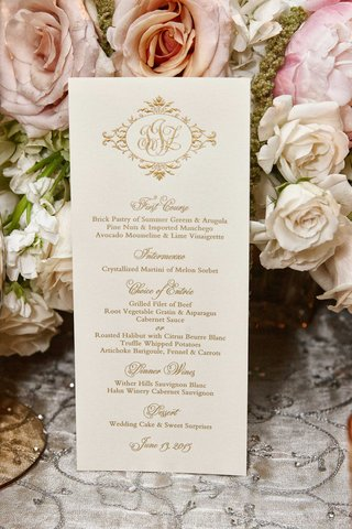 wedding-monogram-in-gold-on-menu-card-with-gold-writing-for-chicago-wedding