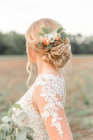 bride-in-lace-illusion-long-sleeve-wedding-dress-with-low-updo-and-flower-leaf-floral-hair-clip