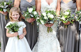 grey-bridesmaid-dresses-and-flower-girl-with-rustic-green-and-white-bouquets