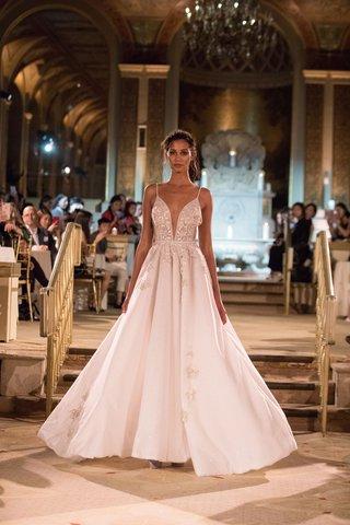 idan-cohen-fall-winter-2018-empire-of-love-wedding-dress-a-line-pleated-gown-spaghetti-strap-plunge