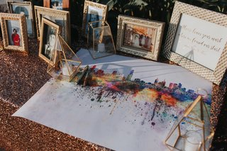 watercolor-painting-of-city-for-people-to-sign-for-wedding-guest-book
