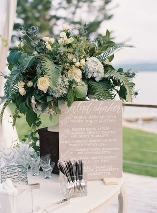 tan-wedding-sign-with-modern-calligraphy-laura-hooper-calligraphy-salad-station-at-wedding-reception