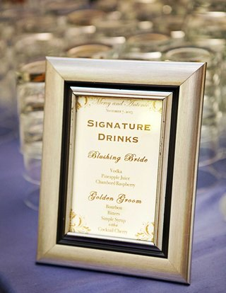 framed-signature-drink-menu-with-blushing-bride-and-golden-groom-special-cocktails