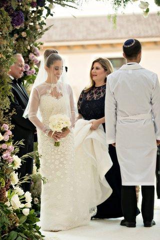 bride-in-oscar-de-la-renta-snowflake-circles-groom-seven-times-hakafot