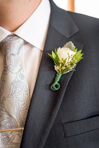 lambs-ear-white-rose-green-leaf-boutonniere-and-paisley-tie