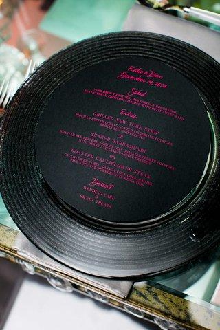 new-years-eve-wedding-black-menu-with-pink-writing