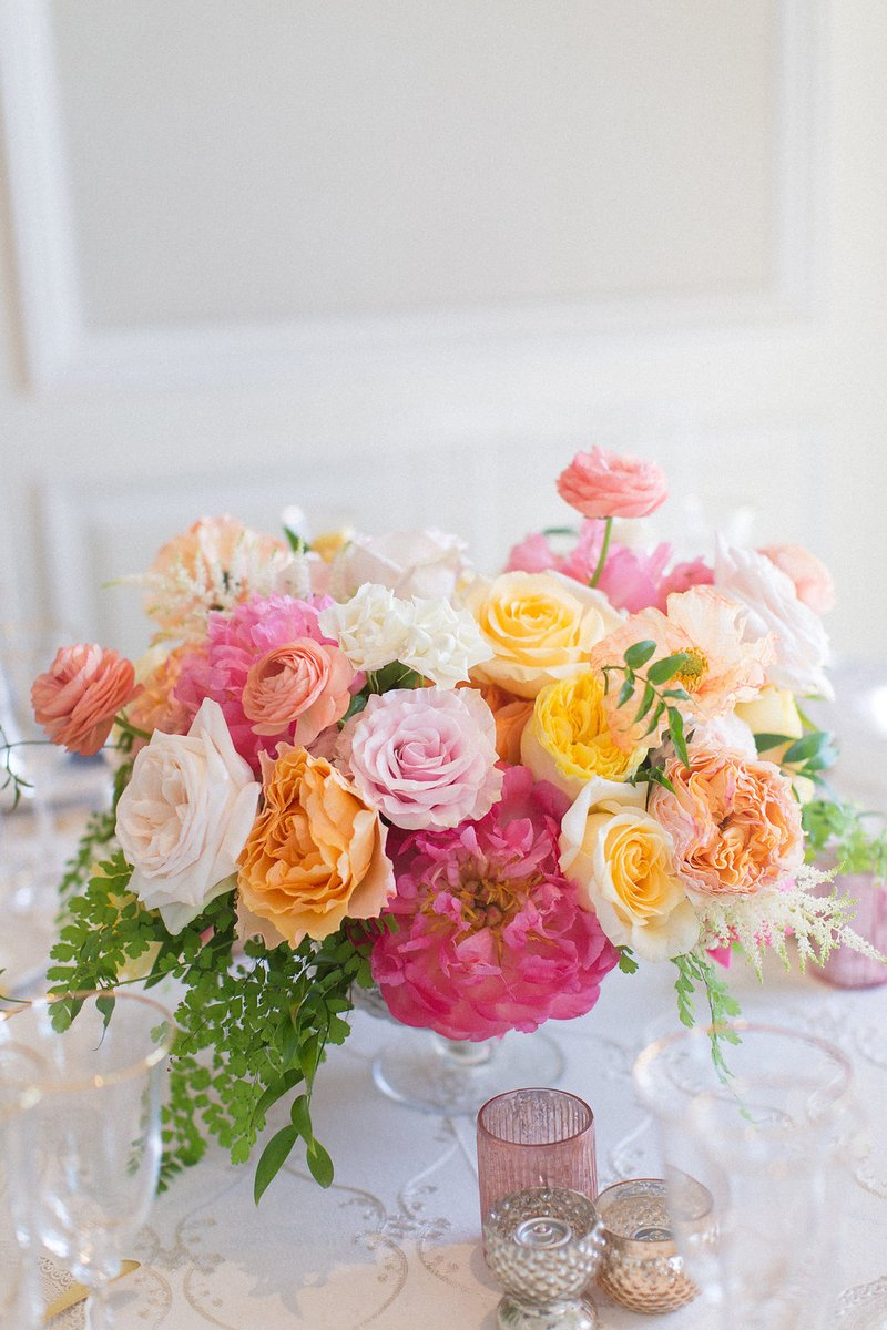 Pink, Yellow & Orange Floral Centerpiece