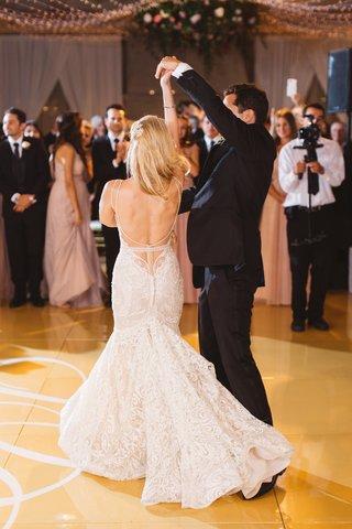 bride-groom-dancing-dance-floor-berta-wedding-dress-low-back-pelican-hill-reception-after-party