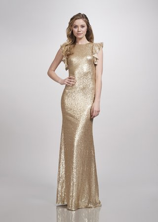 theia-bridesmaids-spring-2018-bridesmaid-gown-high-scoop-neck-cap-sleeves-flares-sequins-matte-gold