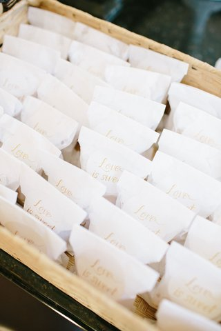 wedding-favors-in-basket-white-bags-with-love-is-sweet-in-gold-calligraphy-baklava-favors