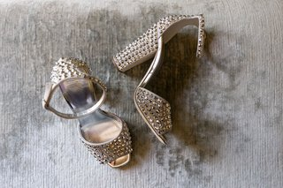 wedding-shoes-studded-heels-peep-toe-silver-metallic-ankle-strap-thick-heel