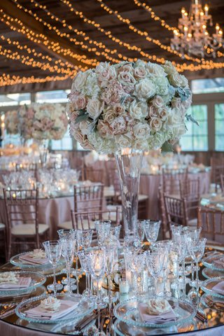 tall-wedding-reception-centerpiece-pink-white-rose-hydrangea-dusty-miller-antique-glassware-silver