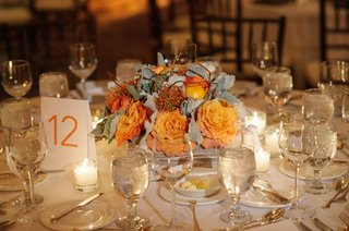 wedding-reception-carol-leifer-lori-wolf-sunset-rose-curly-willow-branches-dusty-miller-kumquats