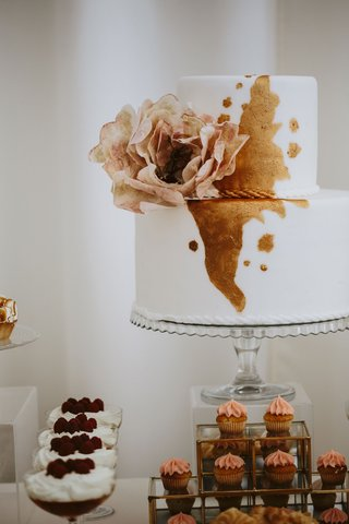 small-simple-wedding-cake-white-fondant-with-metallic-copper-rose-gold-detail-flower-decal