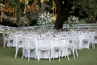 saddlerock-ranch-wedding-outdoor-reception-white-linens-white-washed-vineyard-chairs
