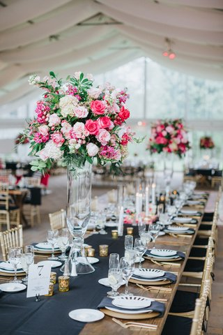 wedding-reception-centerpiece-with-greenery-pink-roses-white-flowers-clear-stand