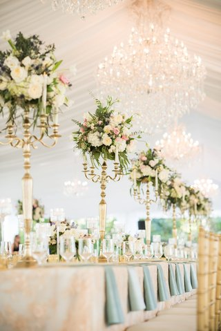 tented-garden-party-wedding-reception-gold-and-white-candelabra-with-candles-floral-centerpieces
