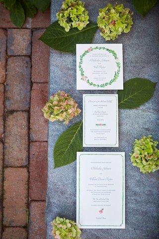 wedding-invitation-suite-green-border-pink-rose-flower-laurel-wreath