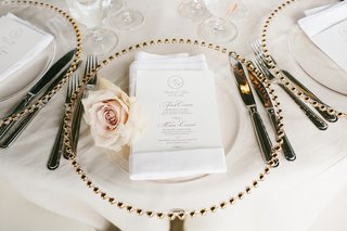 gilt-beaded-charger-with-blush-rose-next-to-napkin