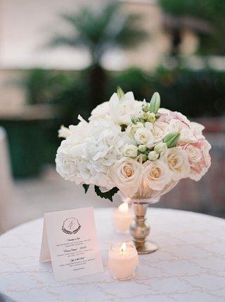 cocktail-table-with-embroidered-linen-candle-votive-white-blush-flower-arrangement-signature-menu