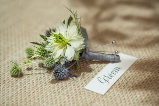 rustic-wedding-boutonniere-with-thistles-and-grey-ribbon