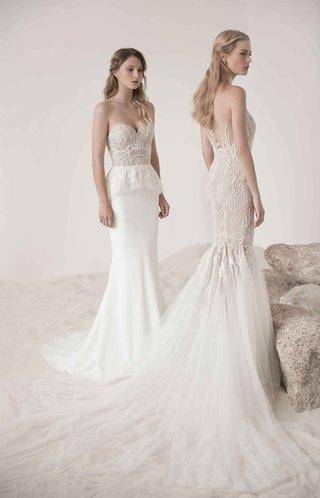 poppy-peplum-wedding-dress-and-mermaid-coral-gown