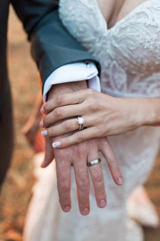 bride-with-french-manicure-and-sparkling-diamond-engagement-ring-berta-gown-groom-with-polished-band