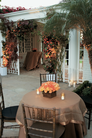 outdoor-cocktail-hour-with-brown-table-and-orange-roses