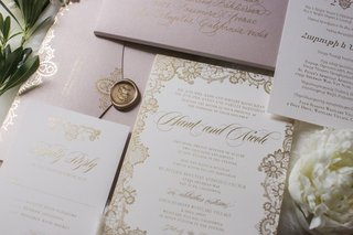 white-wedding-invitations-with-gold-details-blush-envelope-gold-wax-seal