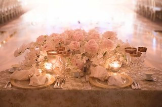 wedding-reception-sweetheart-table-dance-floor-semi-circle-pink-peony-white-orchid-gold-glasses
