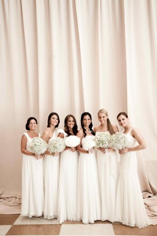 mismatched-floor-length-bridesmaid-dresses-in-white