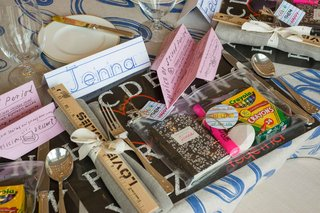 school-theme-bridal-shower-favors-composition-notebook-hi-lighter-crayons-love-rules-ruler-airplane